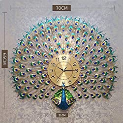 DUDU LANGSHI Home Decoration European Peacock Wall Clock Crystal Luxury Living Room Clock Creative Personality Art Decoration Wall Clock,Colored