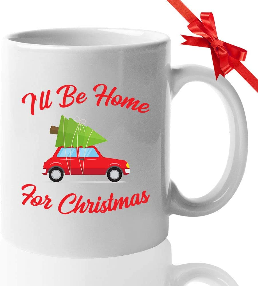 Christmas Coffee Mug - I'll Be Home For Christmas - Merry Happy Xmas Religious Cultural Celebration December 25th Jesus Birth Christian Winter