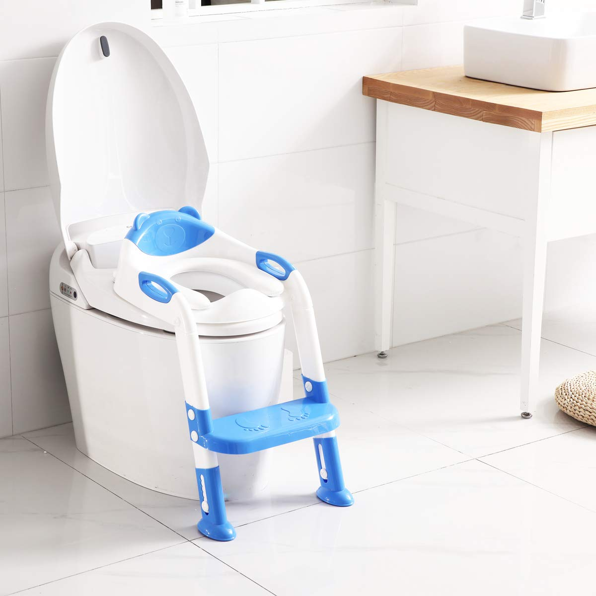 Potty Training Seat mit Step Stool Ladder,Skyroku Potty Training Toilet für Kids Boys Girls Toddlers-Comfortable Safe Potty Seat mit Anti-Slip Pads Ladder (Navy Blue)