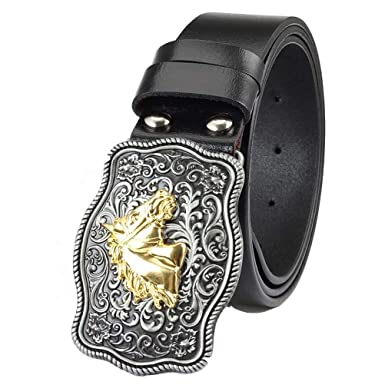 17ca8367c Buckle Belt Black Red Leather Stitched Belt With Matching Alloy Buckle  Curly Grass Horse Head For