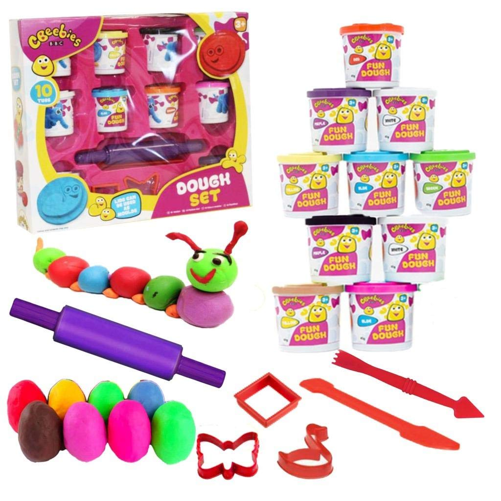 CBeebies 16 Piece Giant Dough Set Play Kids Art Crafts Shapes Moulding Modelling Tubs