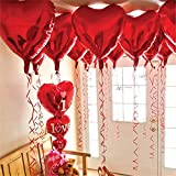 12 + 1 Red Heart Shape Balloons - 1 I Love U Balloon - Helium Supported - Love Balloons - Valentines...