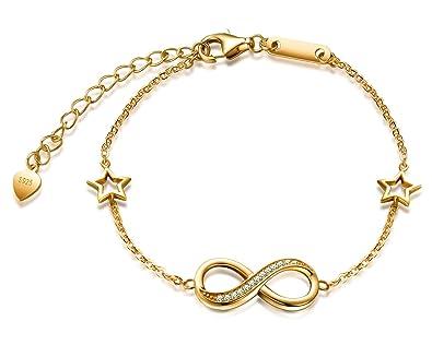 MicLee Damen Armband Zirkonia 925 Sterling Silber Allergenfrei Armband  Unendlichkeit Symbol Zwei Sternen Infinity Armkette  Amazon.de  Schmuck 0dc675e06f