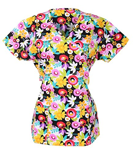 G Med Women's Printed Fashion Mock Wrap Scrub Top with Back Tie(TOP-MED,MULA2-S)