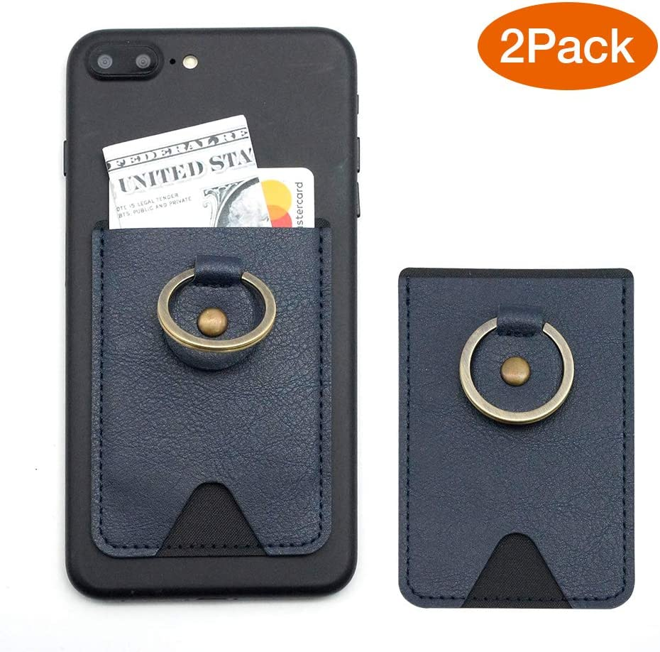 Adhesive Stick-on Wallet Credit Card Holder for Back of Phone SenseAGE 2 Pack Phone Card Holder with Ring Grip Stand PU Leather Card Wallet Pocket Dark Blue