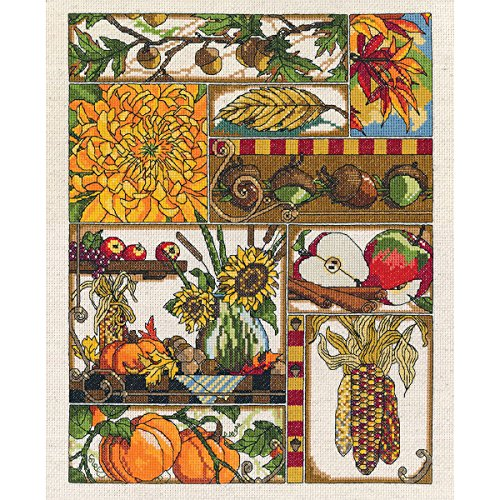 Janlynn 14 Count Autumn Montage Counted Cross Stitch Kit, 11-Inch x 14-Inch from Janlynn