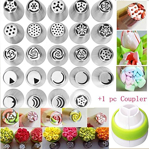 [24 pcs DIY Stainless Steel Flower Russian Icing Piping Nozzles Pastry Tips Fondant Cup Cake Baking +1 Coupler] (Homemade Gingerbread Costumes)