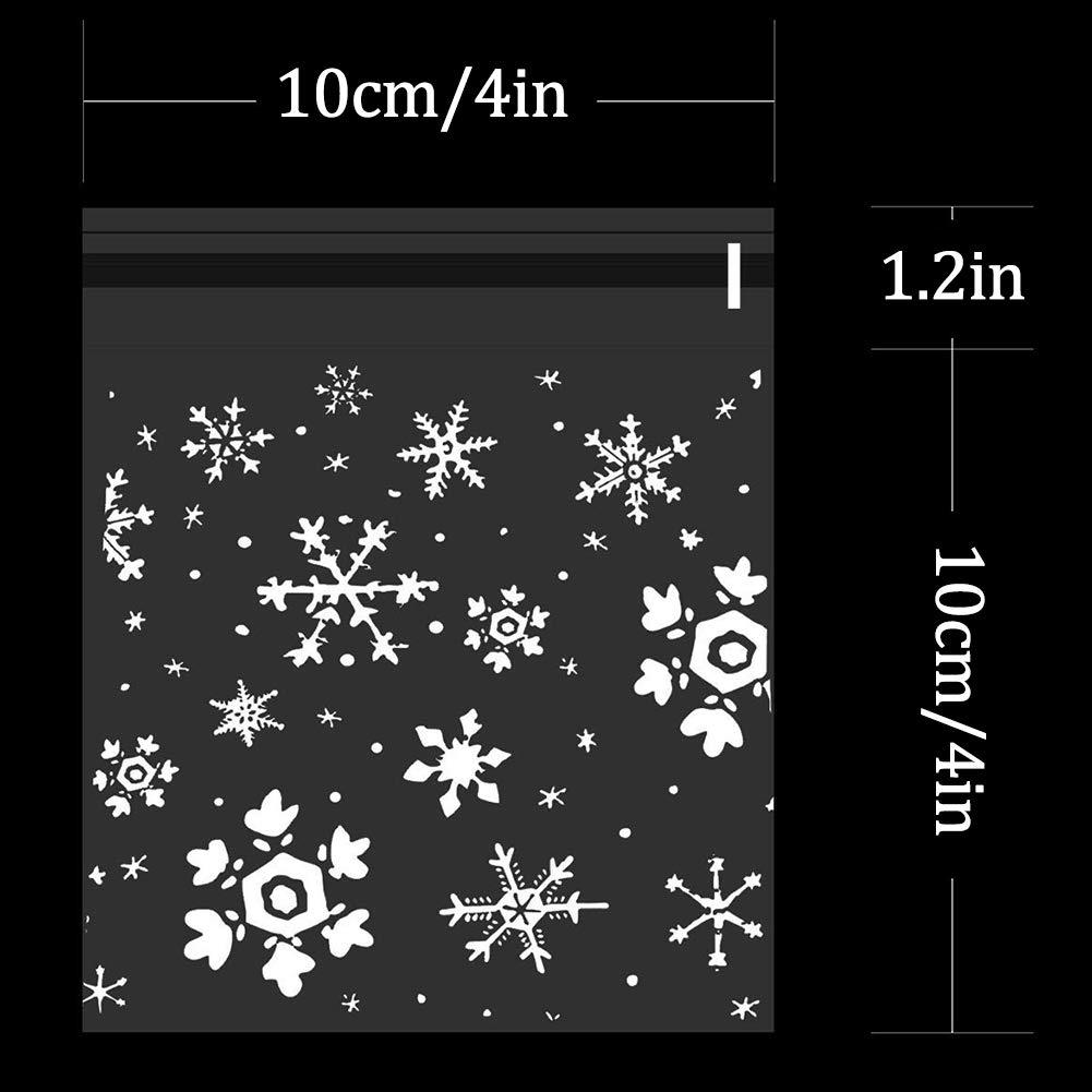 Transparente 4 4 Pulgadas 300 Piezas de Bolsa de Dulces Navidad Caramelos Celof/án Autoadhesiva con Patr/ón Copo de Nieve Plastico Utilizado en Galletas Caramelos Regalos Fiesta Chocolate Embalaje