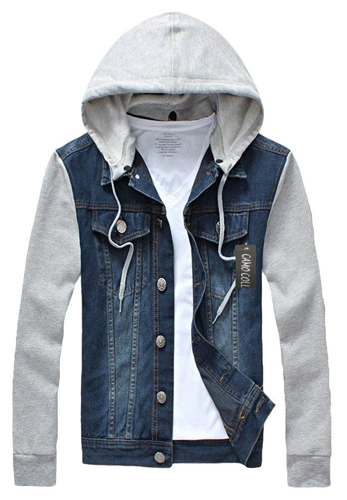 Camo Coll Men's Rugged Wear Denim Hoodie Jacket (S, Dark Blue)