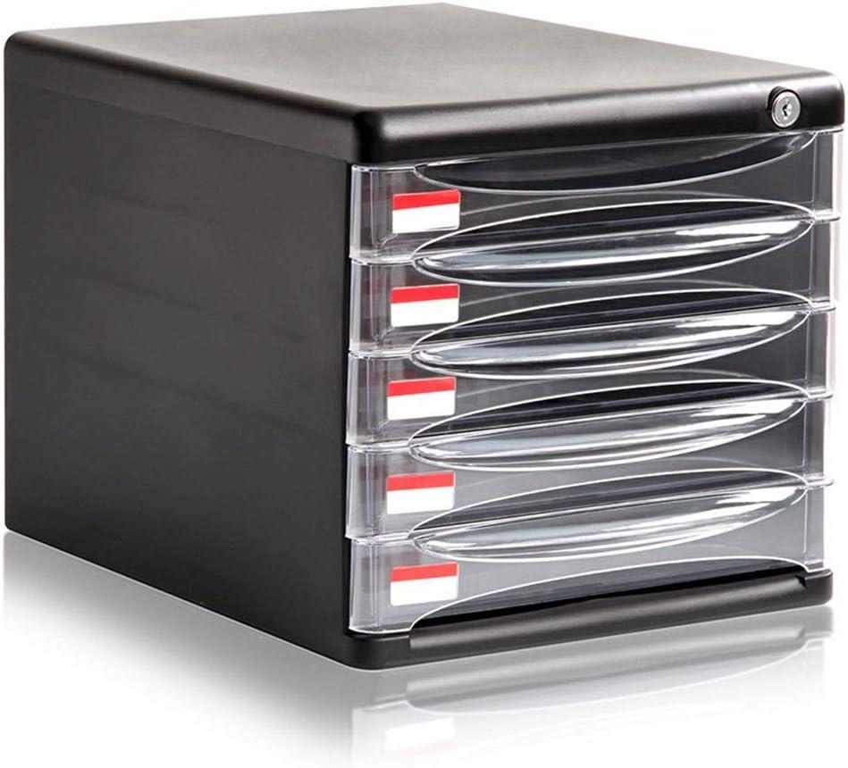 GONGFF Archivadores Divisores de archivadores 5 Cajones A4 Escritorio de plástico Archivo de clasificación Caja de Almacenamiento de Datos 27X36X26cm