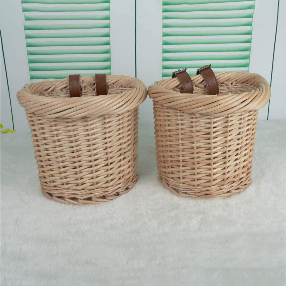 Portable Shopping Basket SOOTOP Wicker Unique-Shaped Bike Basket Hand-Woven Folk Craftsmanship Bicycle Front Handlebar Storage Basket with Leather Straps