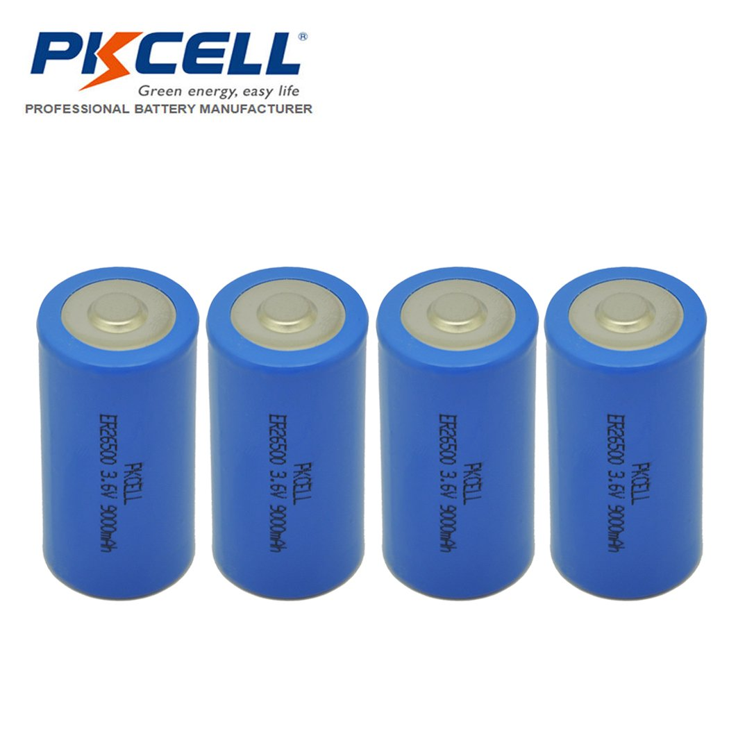 3.6V C Size ER 26500 9000mAh Lithium Thionyl Chloride Battery with Button Top (4pc) by PKCELL