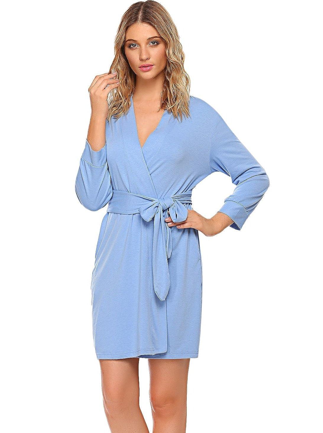 MAXMODA Women Cotton Robe Kimono Spa Bathrobe Lightweight Short Sleepwear Nightwear S-XXL