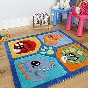 Divertido y suave tapete para niños. Diseño multicolor en cuadrados y dinosaurios. 90 x 90cm