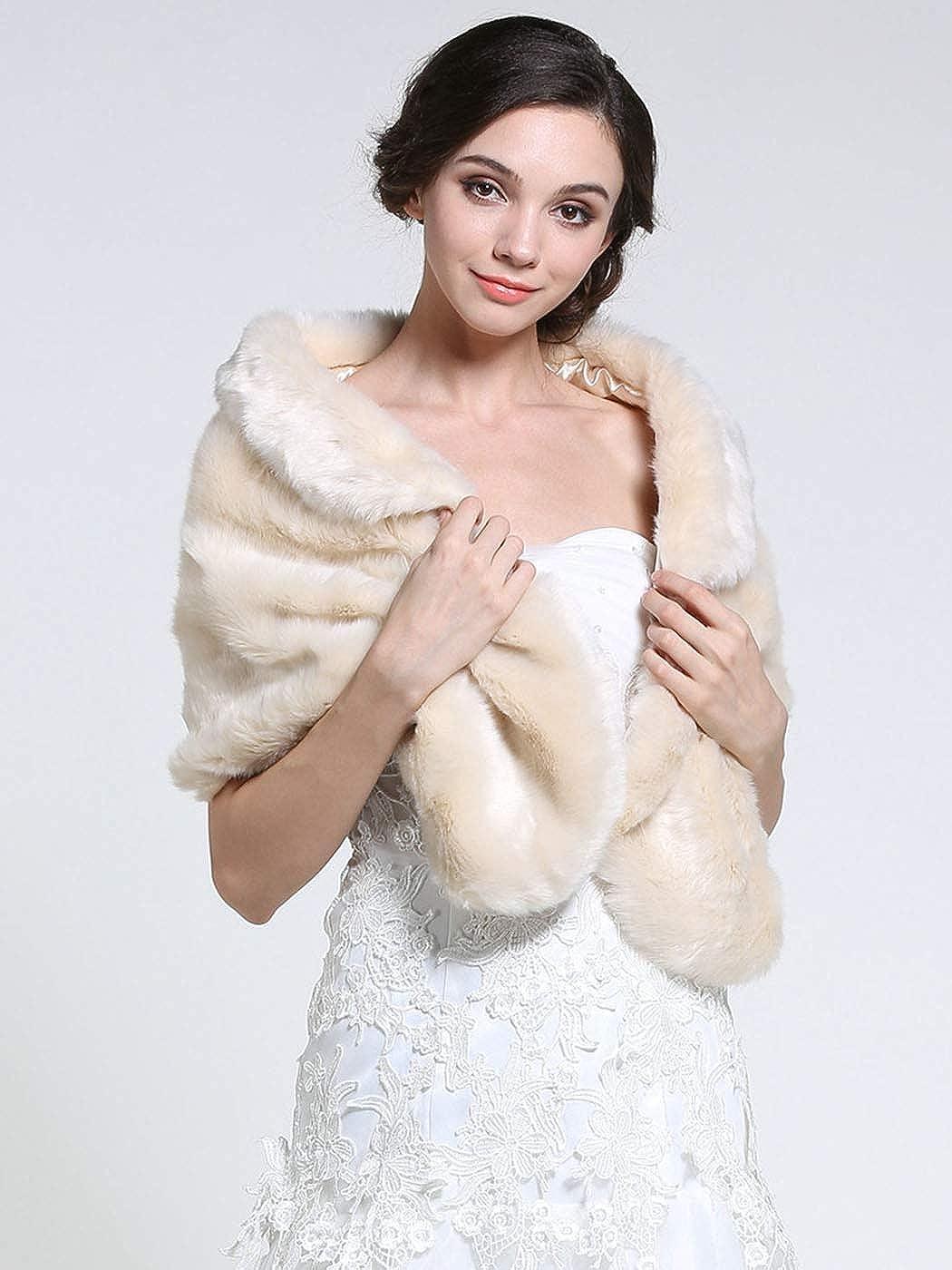 colore Zoestar Scialle in finta pelliccia Panna