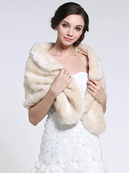 Scialle da donna in pelliccia sintetica anni 20 Zoestar per matrimoni