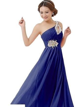 ddc0862b174 Izarale Women s Long Formal One Shoulder Evening Prom Dresses Royal Blue Size  28 Plus Size