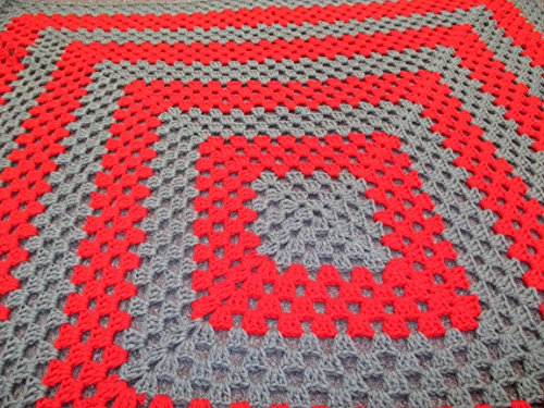 Hand Crocheted Afghan (Hand Crocheted Red and Grey Granny Square Afghan)