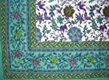 Floral Print Tapestry Cotton Bedspread 90'' x 87'' Full Green