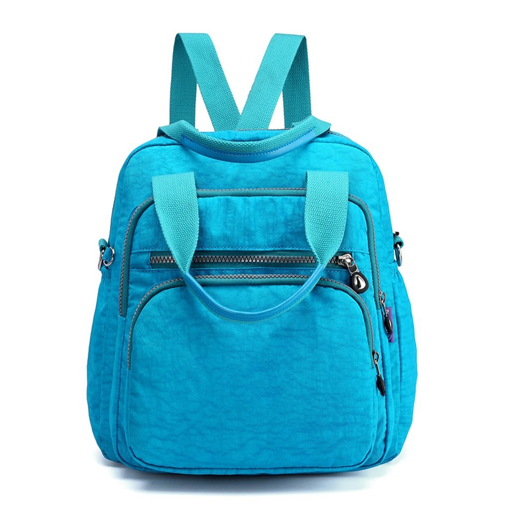 Color : Blue C-Xka Waterproof Nylon Lightweight Shoulder Bags Messenger Casual Daypack Multifunction Backpack Handbag Backpack