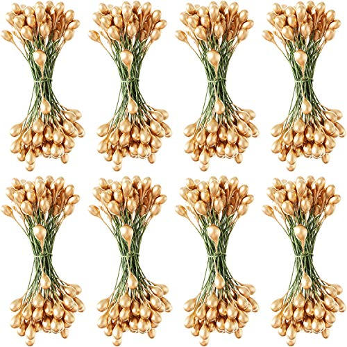 - Patelai 800 Pieces Artificial Holly Berries Craft Berry Stems for Christmas Wedding Home Ornaments (Gold)