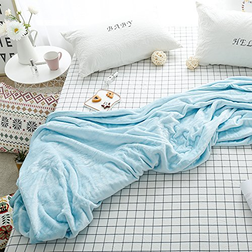 Znzbzt Thick flannel blankets simple solid color blanket double coral fleece blankets office cover and small single,200230cm, water color sky blue