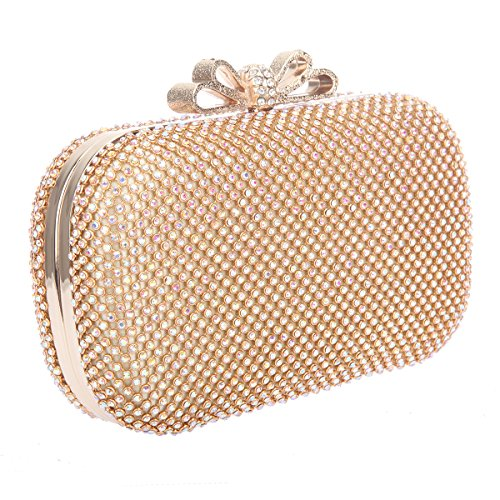 Rhinestone Evening Gold Purse For Bonjanvye Girls Ab Bags Clutch Bow Black Crystal qHFUC