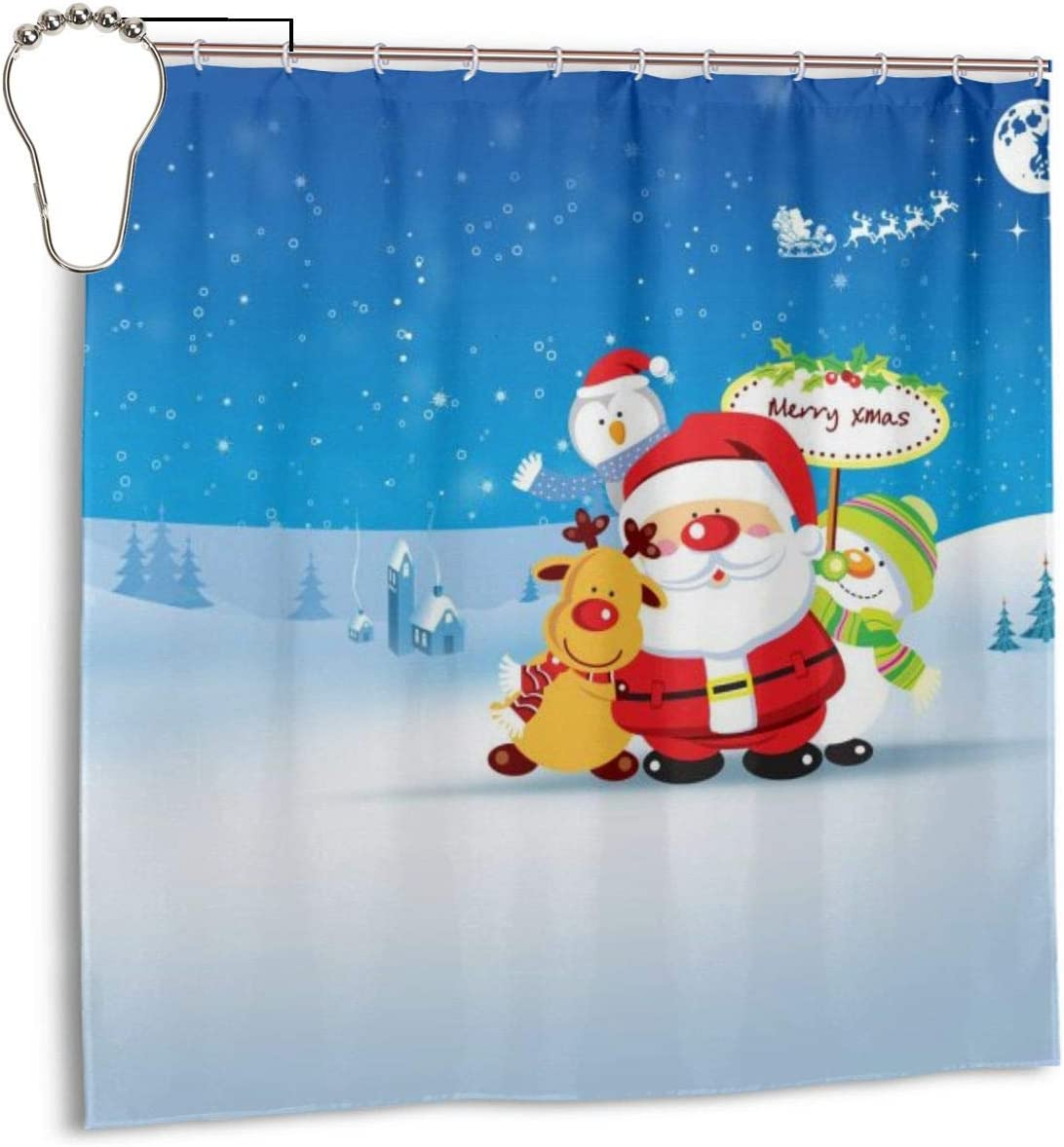 Albero Di Natale Yule.Haha Tenda Da Doccia Per Bambini Con Albero Di Natale Yule Pop Set Con 7 To12 Ganci Stampa 3d Tenda Da Bagno Per La Casa Decora Tessuto Tenda Per Privacy Lavabile In