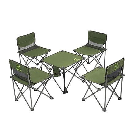 Dszgo Camping Mesa y sillas Plegables para Exteriores Juego ...