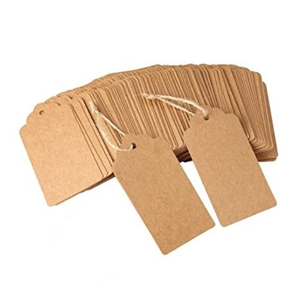 Vikenner 100  pz rettangolare in carta kraft cartellini regalo prezzo Cards favor etichetta per matrimoni, Natale, party supplies  –   no corda di canapa  –   marrone party supplies - no corda di canapa - marrone