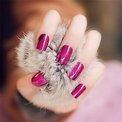 Goldenssy 24 uñas postizas francesas, efecto espejado, Metálico, Color Puro, Completas,