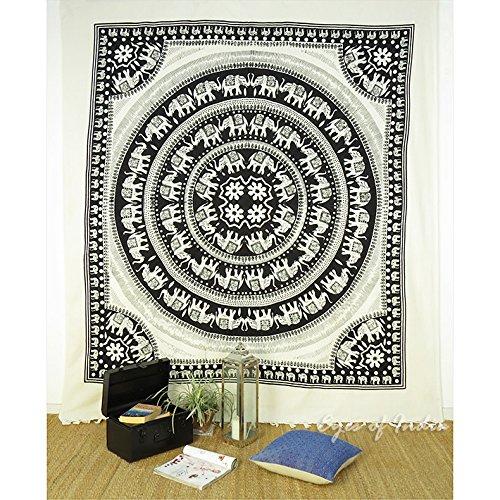 Eyes of India - Large Queen White Hippie Indian Elephant Mandala Tapestry Bedspread Beach Dorm Bohemian Boho