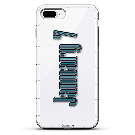Dates: January 7 Date in Bold Modern Font | Luxendary Air Series Clear case with 3D-Printed Design & Air Cushions for iPhone 8/7 Plus