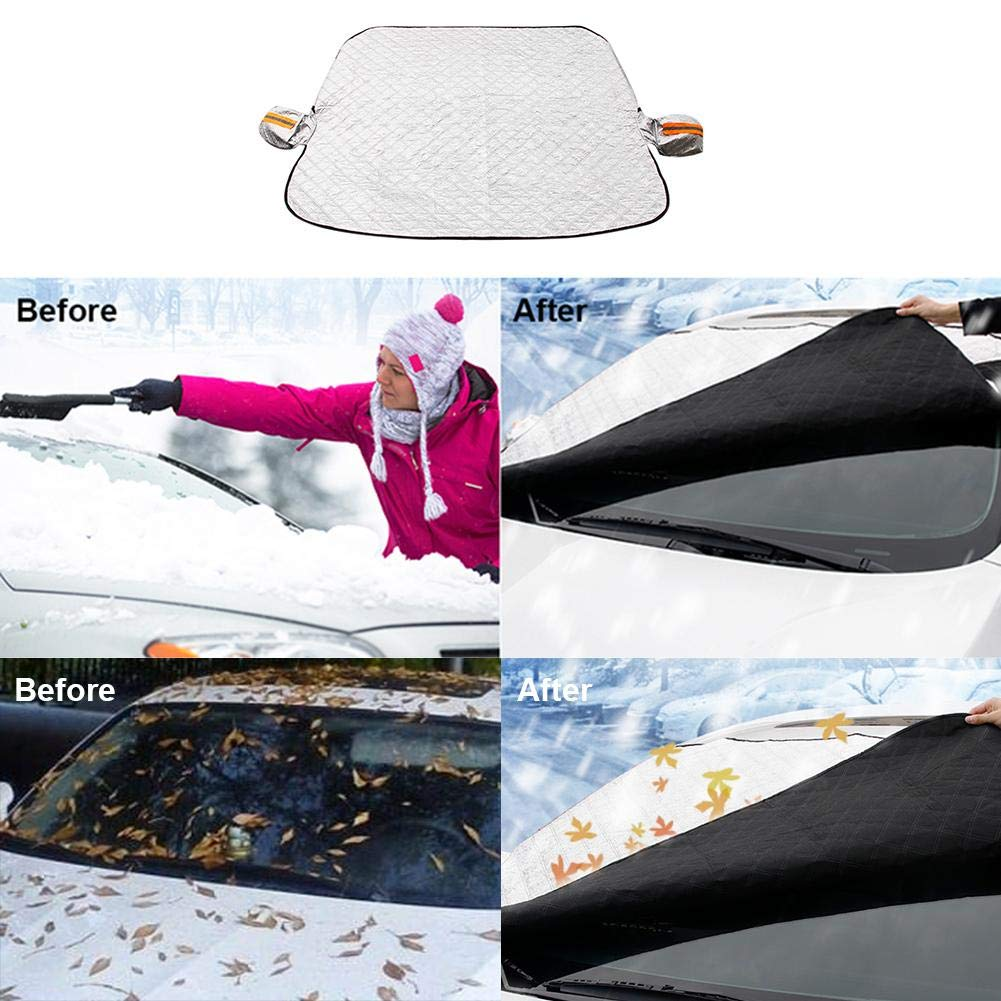 Magnetic Edges Ice Removal Wiper Visor Protector Cover All Weather Summer Auto Sun Shade Guard for Car Truck Van SUV 94x45 Car Windshield Snow Cover with Side Mirror Covers