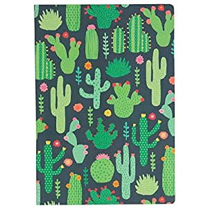 A5 Sized Notebook - Green Colourful Cactus Design, Plain Paper