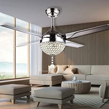 RainierLight Modern Crystal Ceiling Fan Lamp LED 3 Changing Light 4  Stainless Steel Blades With Remote Control For Living Room/Bedroom 44 Inch