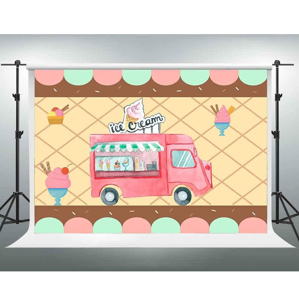 GESEN 誕生日背景 10x7フィート 手描き アイスクリームカート 写真背景 ベビーシャワー 背景 写真ブース スタジオ小道具 PGGE862   B07L1HM9L8