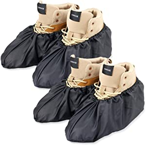 LINKEASE Reusable Boot & Shoe Covers Water Resistant Non Skid and Washable for Real Estate Contractors to Keep Floors Carpets Footwear and Rooms Clean - 2 Pairs (Medium, Black)