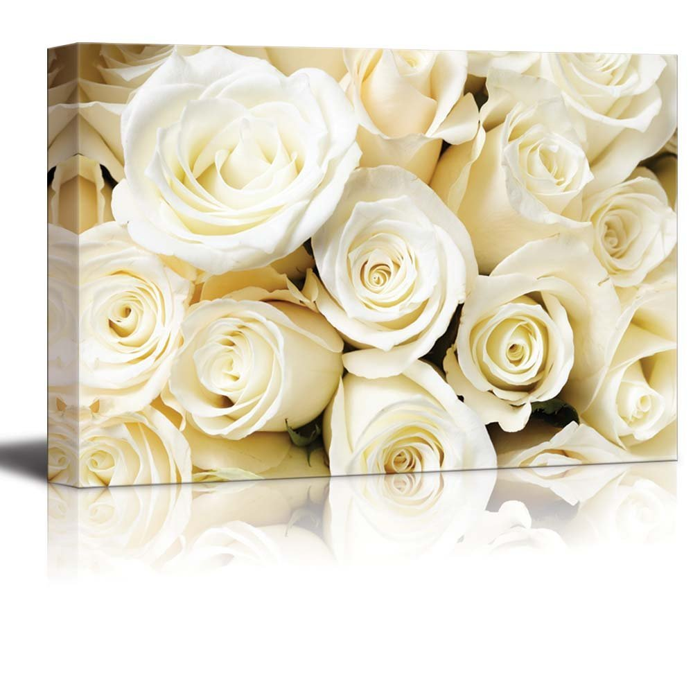 Romantic White Color Cream Roses Wall Decor Wood Framed - Canvas Art ...