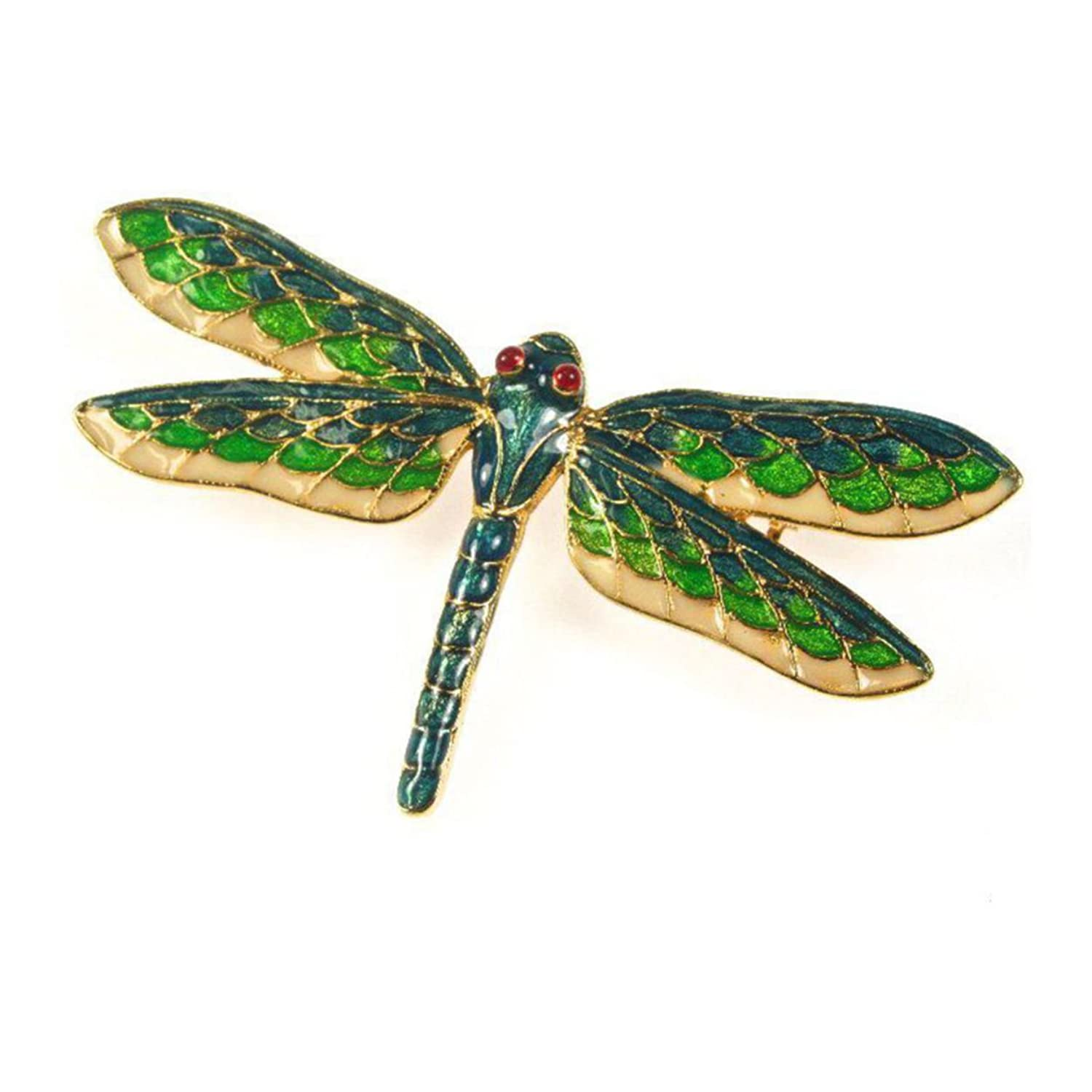 Stained Glass Cloisonne Golden Green Blue Dragonfly Brooch Pin Pricegems Museum Collection