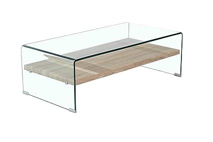 Meubletmoi Table Basse En Verre Trempe Avec Etagere En Bois Decor Chene Design Moderne Ice