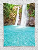 Ambesonne Waterfall Decor Collection, Clear Natural Pool Plants Sunbeams Summer Day View, Bedroom Living Kids Girls Boys Room Dorm Accessories Wall Hanging Tapestry, Turquoise Green Beige