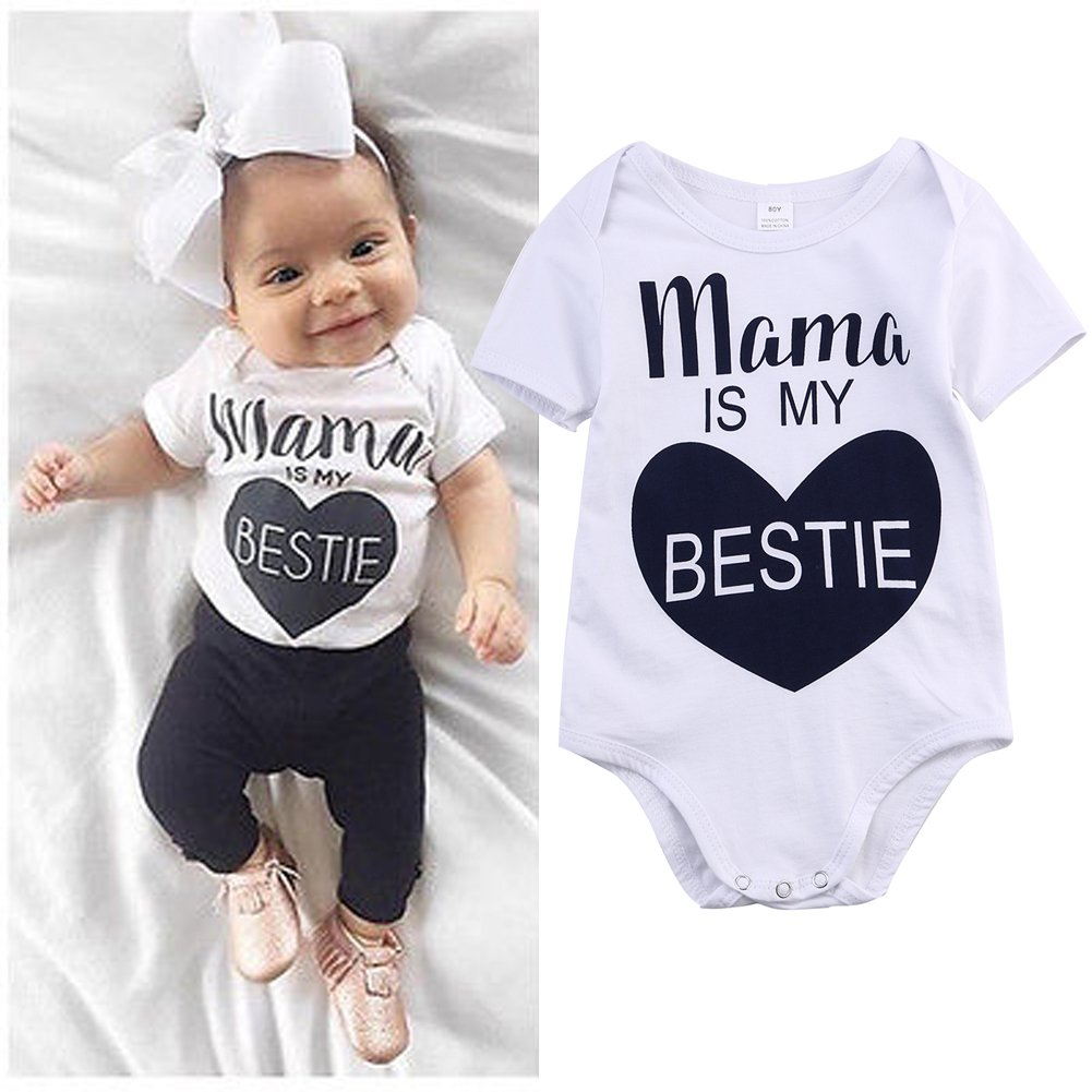 Newborn Baby Boys Girls Romper Mama is My Bestie Short Sleeve Summer Bodysuit