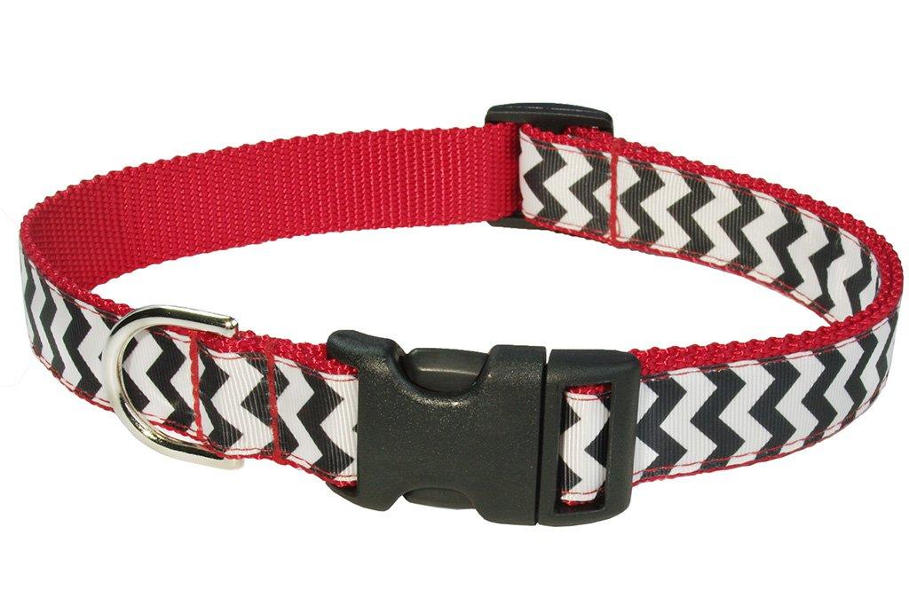 Black White Large Black White Large Sassy Dog Wear Large Chevron Blk Wht Dog Collar, 1-Inch Wide, Adjusts 18 to 28-Inch