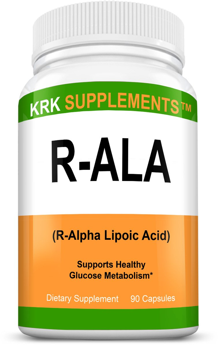 1 Bottle R-ALA R-Alpha Lipoic Acid 200mg 90 Capsules KRK Supplements