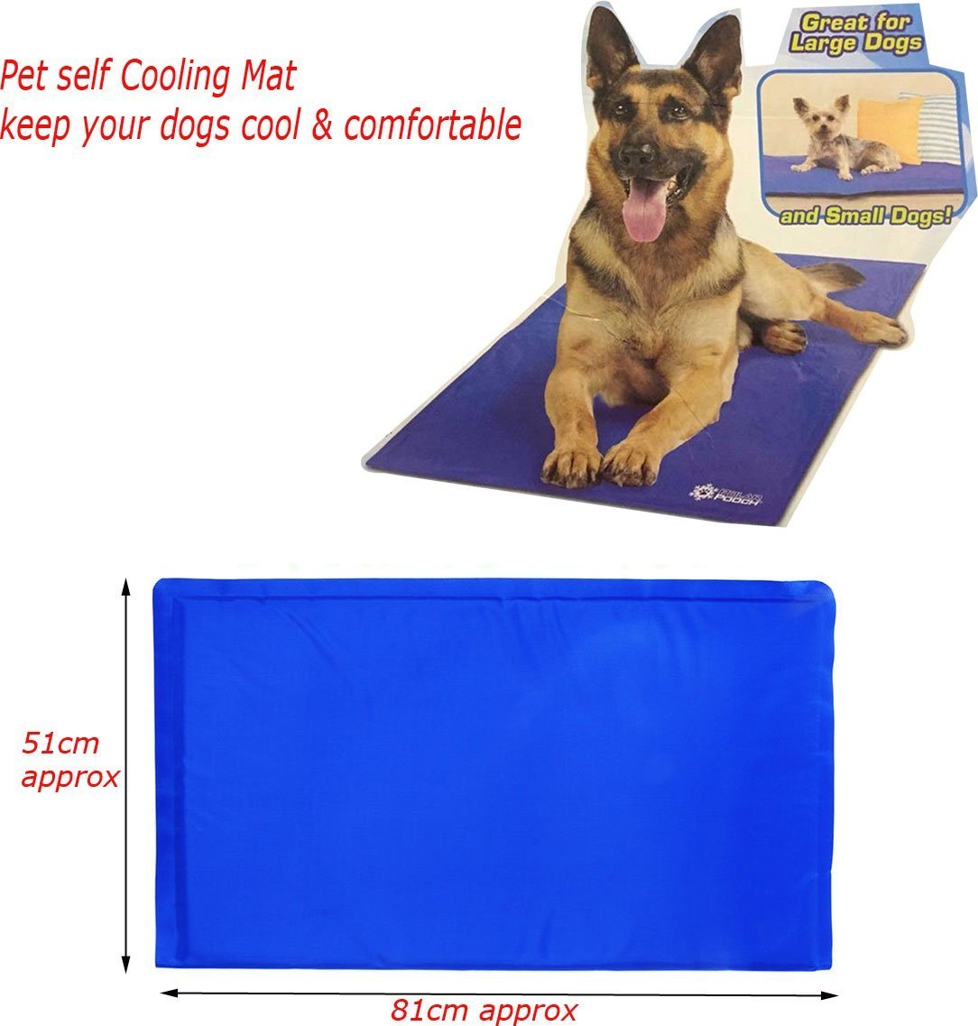 AH&R International 81cm x 51cm Large Cool Mat Self Cooling Gel Mat Pet Dog Cat Heat Relief Non-Toxic Summer