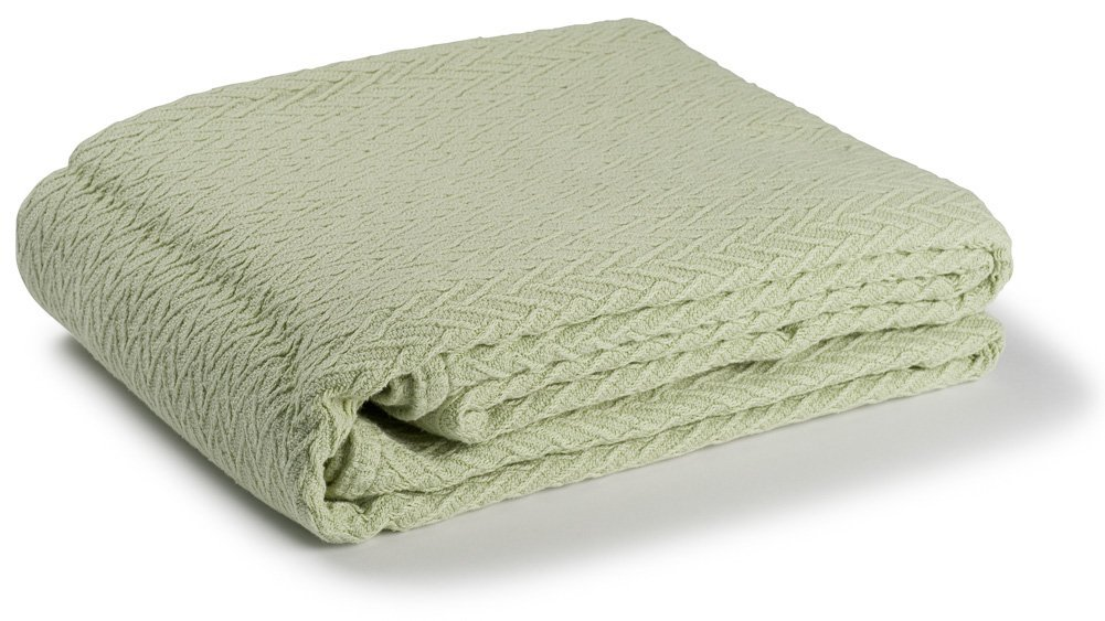 Charisma 100% Solid Cotton Weave Blanket (King, Celadon) by Maine Woolens