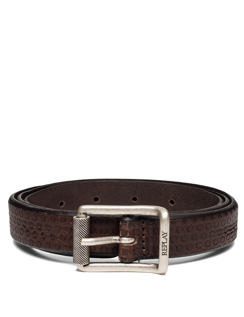 Replay Men's Men's Leather Brown Belt With Skull in Size 90 Brown