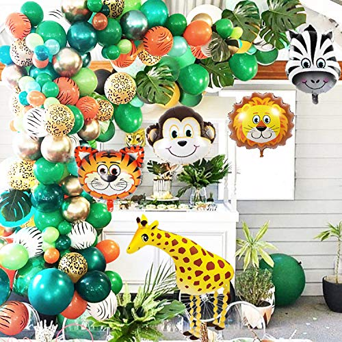 OuMuaMua Jungle Safari Theme Party Balloon Garland Kit - 151 Pack with Animal Balloons and Palm Leaves for Kids Boys Birthday Party Baby Shower Decorations