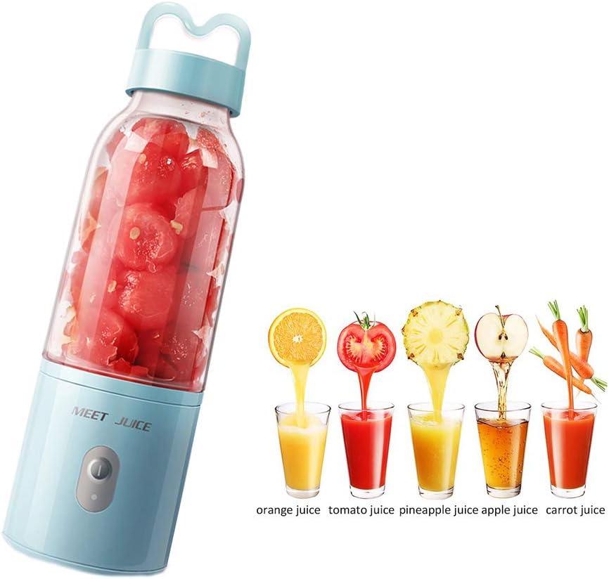 N Mini Portátil Batidora, USB Recargable 500ml Licuadora con 4 Cuchillas, para Frutas, Batidos de Leche y Alimentos para Bebés, Fácil de Limpiar - Blanco/Azul/Rosa